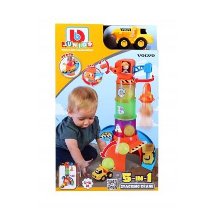 """Bburago Junior 16 88605 Игровой набор для малышей (5 в 1) """"Башенный кран-пирамидка с машинкой Вольво"""""""