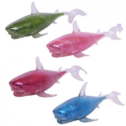 Abtoys A92-G006 Игрушка-антистресс. Акула блестящая 24 см, в индив. пакетике, 4 цвета