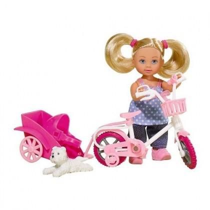 Simba 5730783 Кукла Evi на велосипеде с собачкой