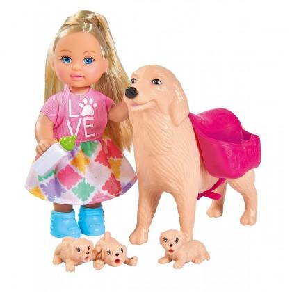 Simba 5733072 Кукла Evi с собачкой и щенками
