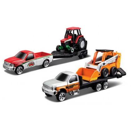 MAISTO 12328 Модель автомобиля с трейлером и трактором