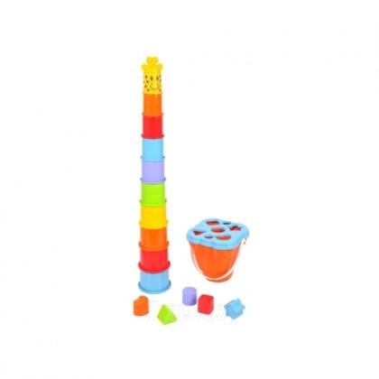 PLAYGO 2381 Развивающая игрушка Пирамидка и Ведерко-сортер